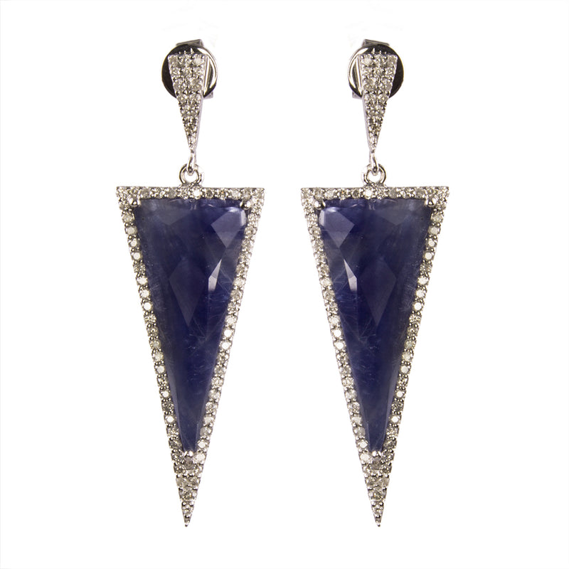 White Gold Blue Sapphire Diamond Earrings.
