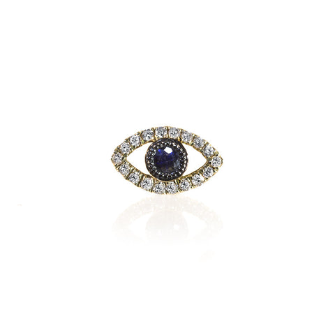 Gold and Blue Sapphire Evil Eye Ring