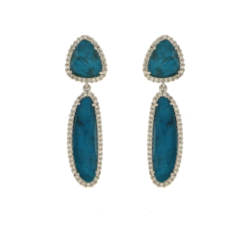 Chrysocolla Diamond Dangle Earrings