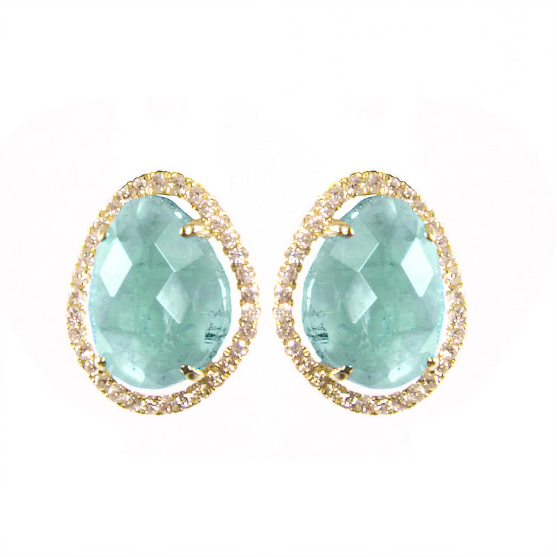 Amazonite Diamond Gold Studs