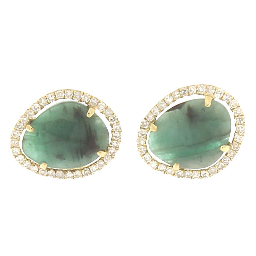 Emerald Studs in Yellow Gold