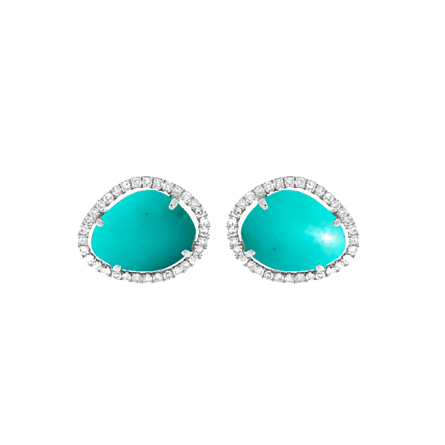White Gold Turquoise and Diamond Stud