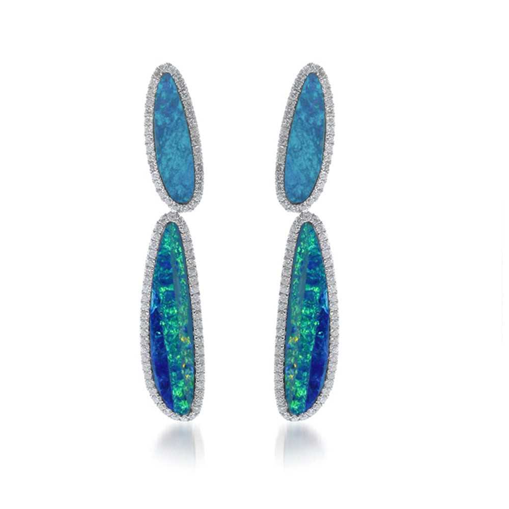 Opal Diamond Drop Earrings
