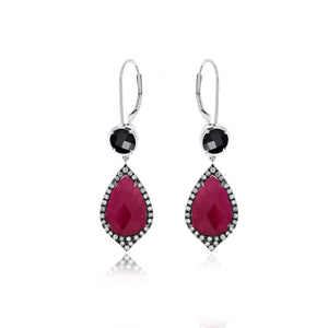Ruby and Hematite White Gold Diamond Earrings