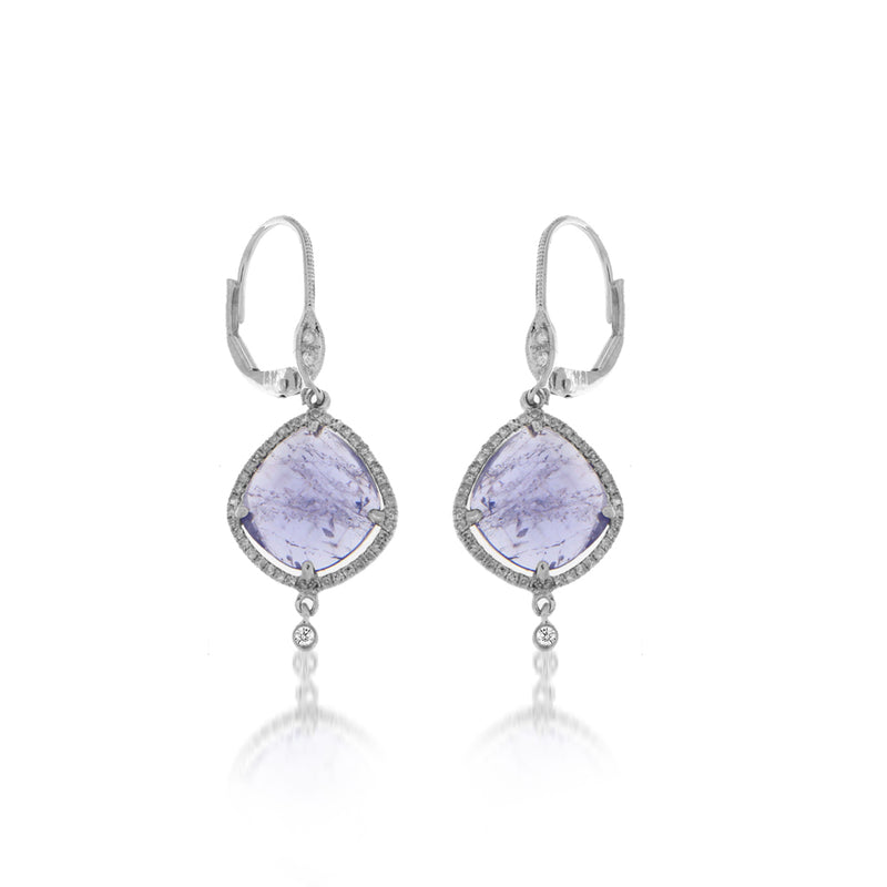 Tanzanite Drop Earrings with Bezel