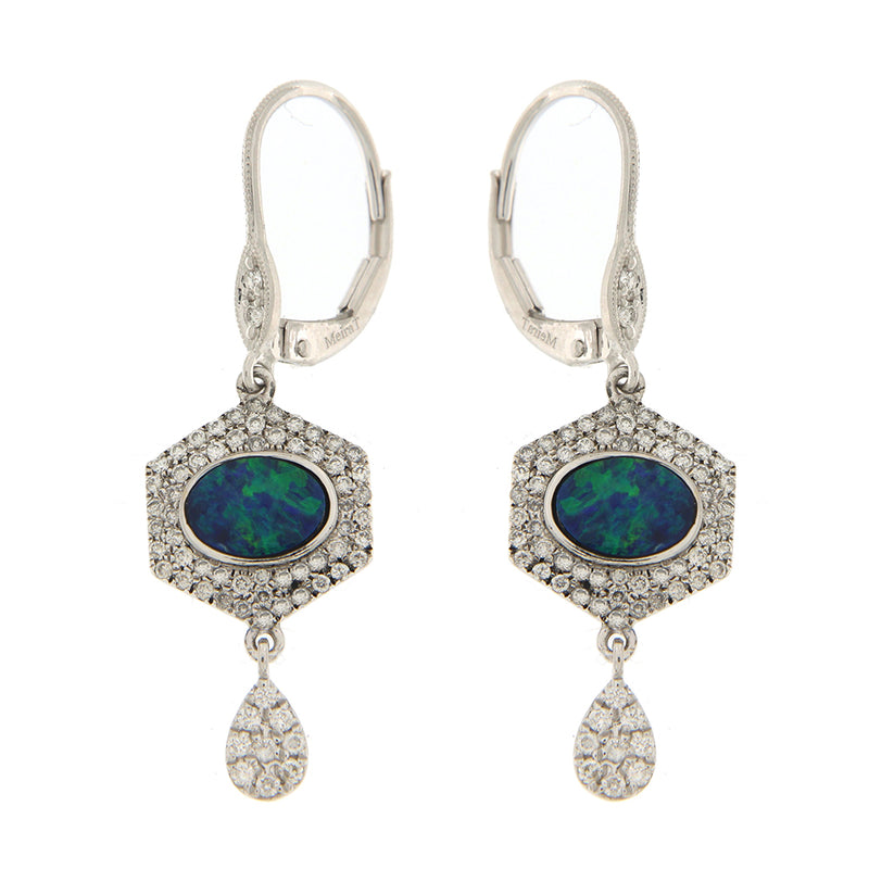 Opal Earrings with Diamonds