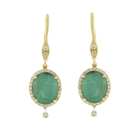 Emerald, Diamond, 14K Yellow Gold, 14K White Gold & Silver Oval Charm Drop Earrings