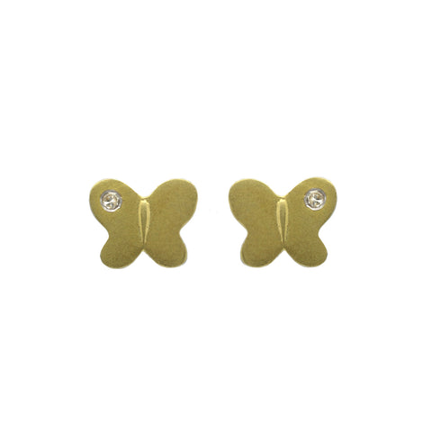 Meira T Brushed Yellow Gold and Diamond Earrings