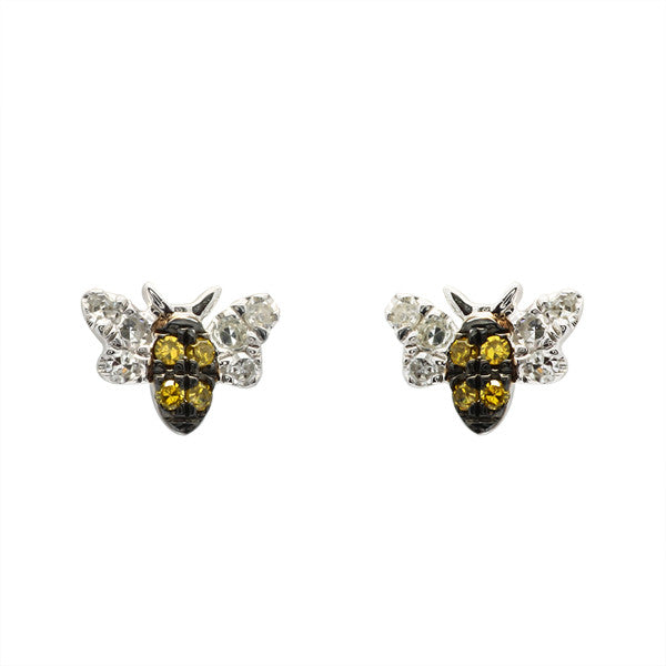 diamond bumble bee earrings