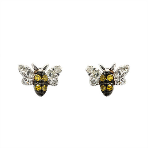 Meira T Children's Collection Sapphire and Diamond Bee Studs