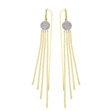 Diamond, 14K White & Yellow Gold Fringed Drop Earrings