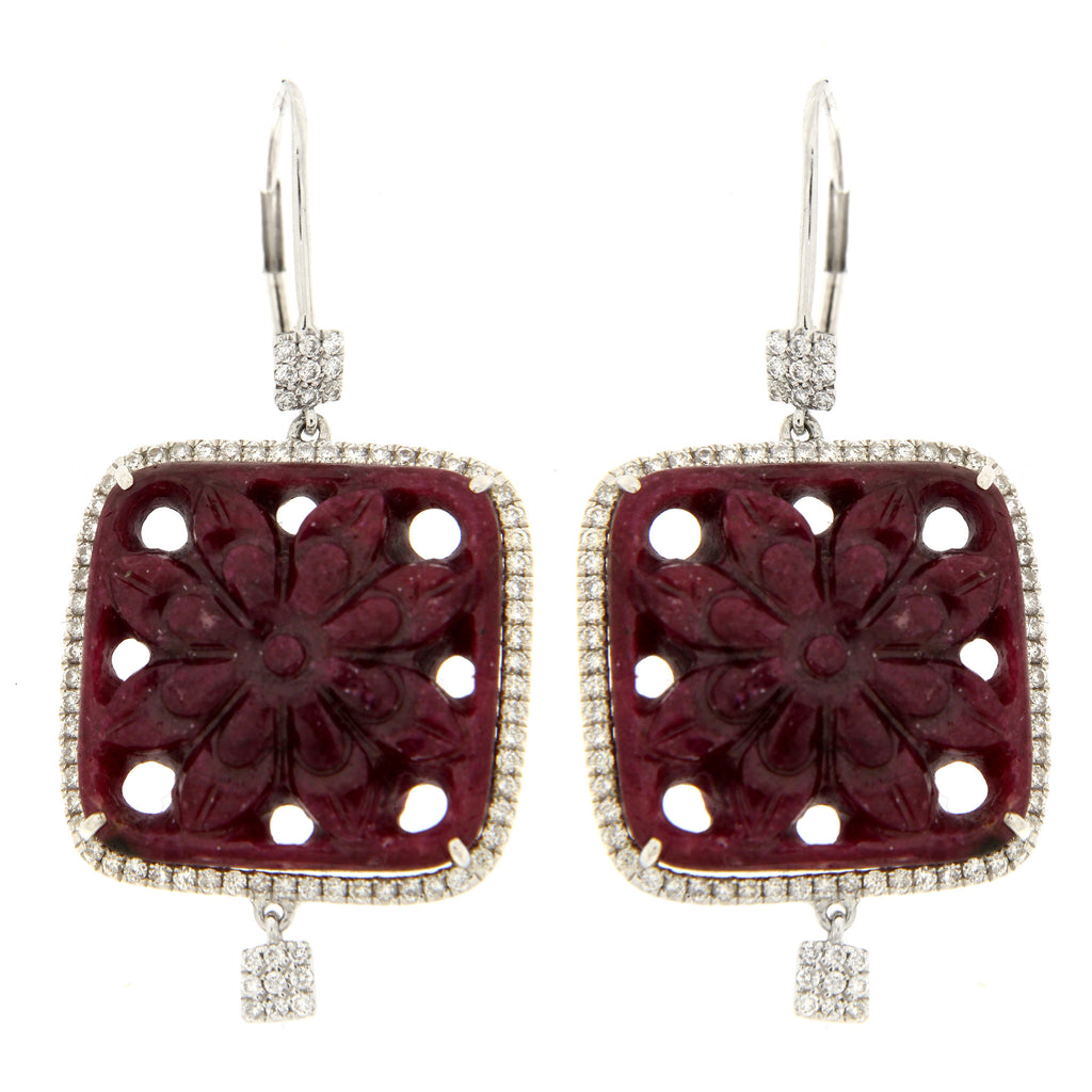White Gold, Diamond & Ruby Floral Earrings