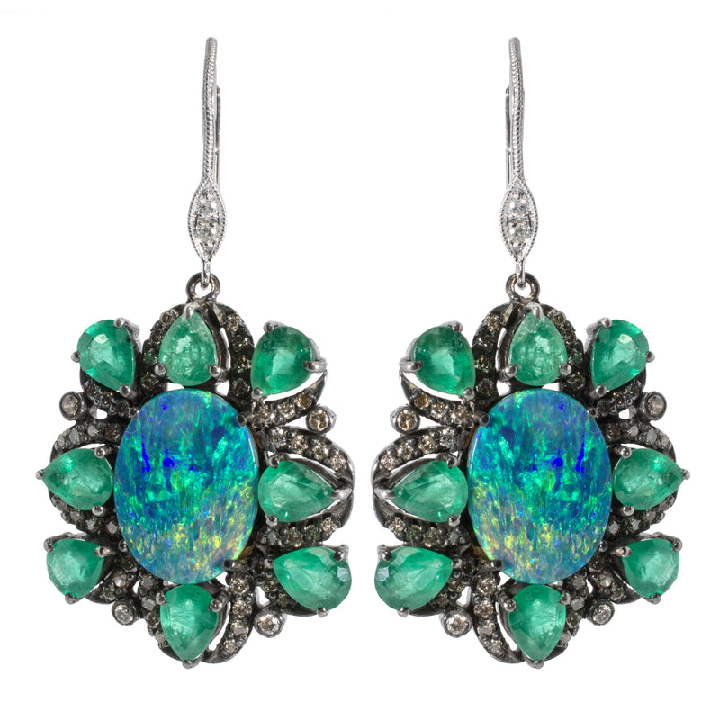 Opal and Emerald Flower Earring with Brown Diamonds