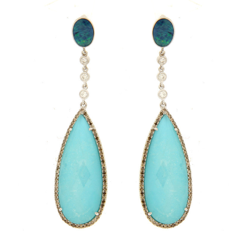 Turquoise and Opal Earring