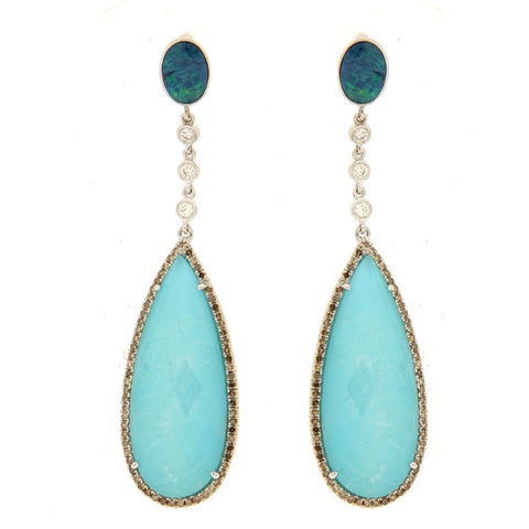 Turquoise and Opal Drop Earring