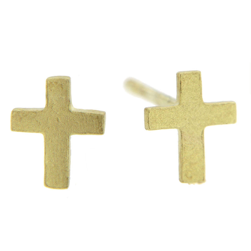 Gold Cross Stud Earrings