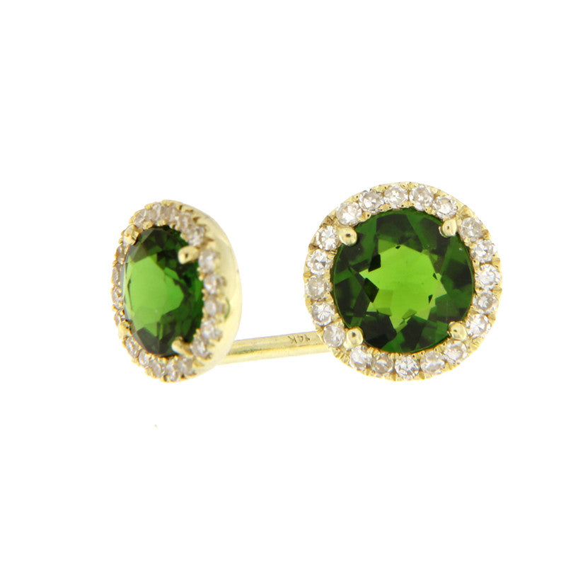 Chrome Tourmaline Diamond Studs