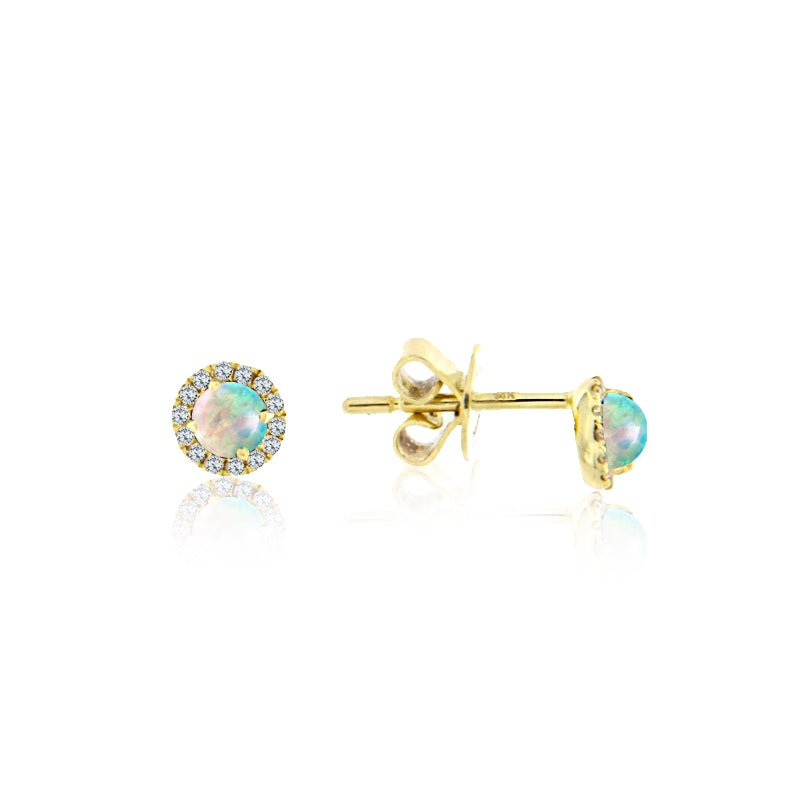 Dainty White Opal Halo Earrings