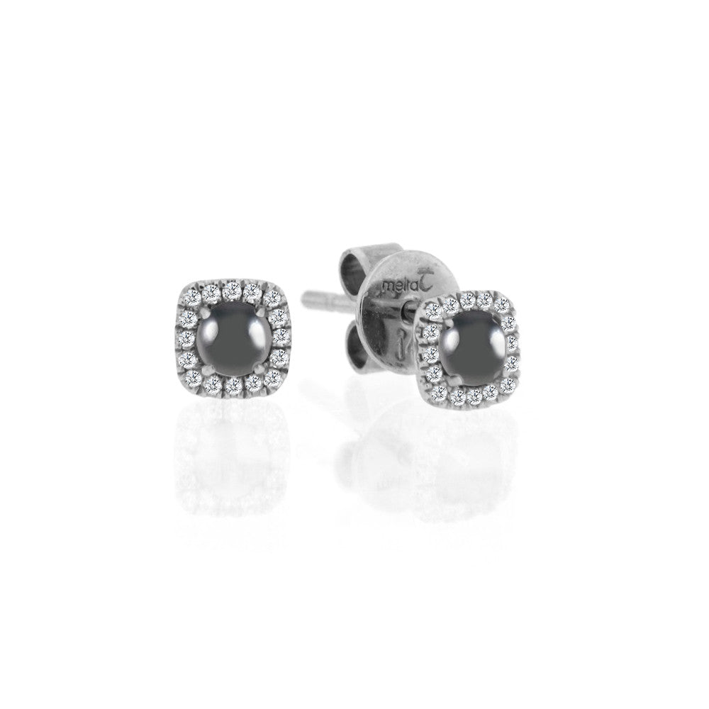 White Gold Hematite Diamond Studs