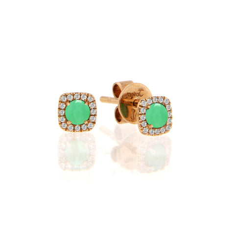 Rose Gold Chrysophase Stud Earrings