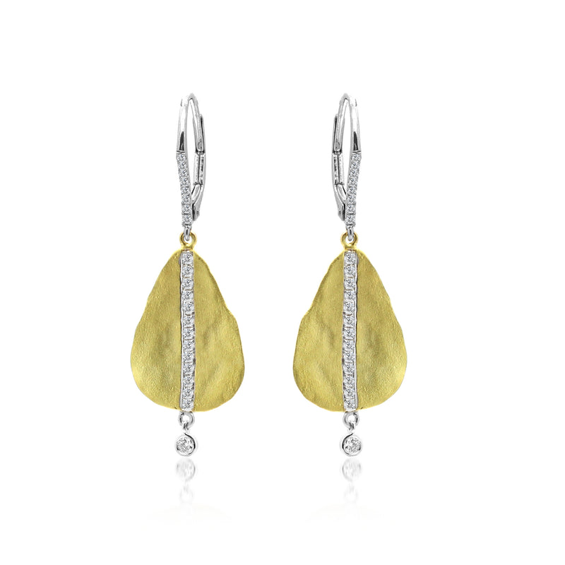 Hammered Yellow Diamond Tear Drop Earrings with Bezel