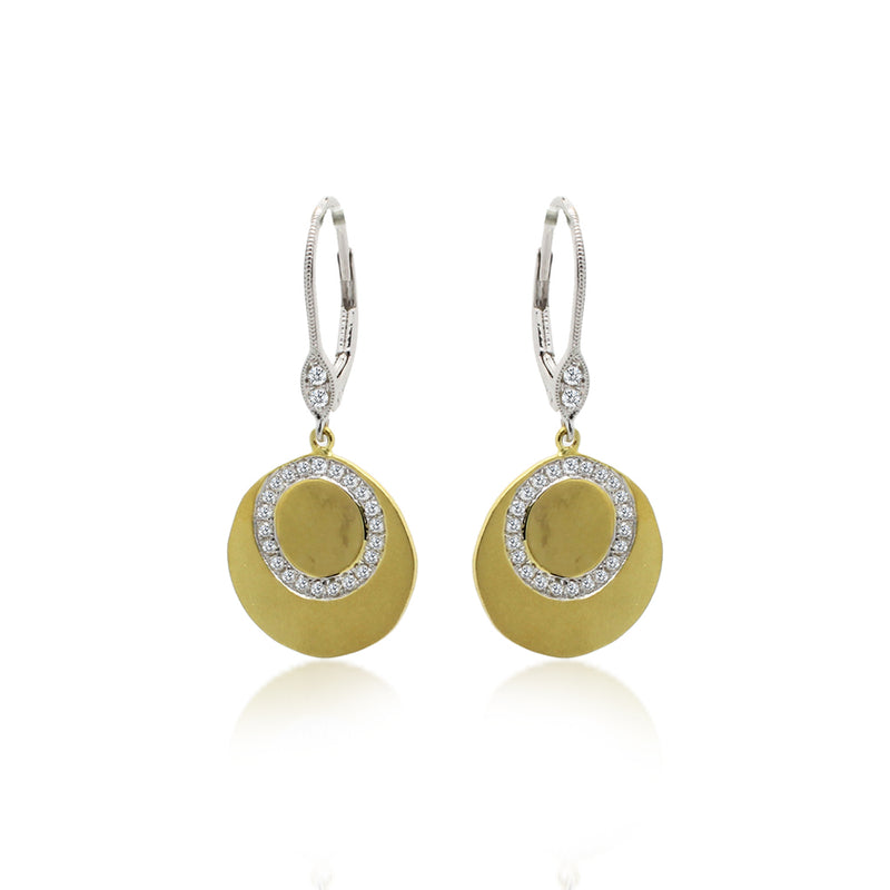 Brushed Gold Pave Earrings