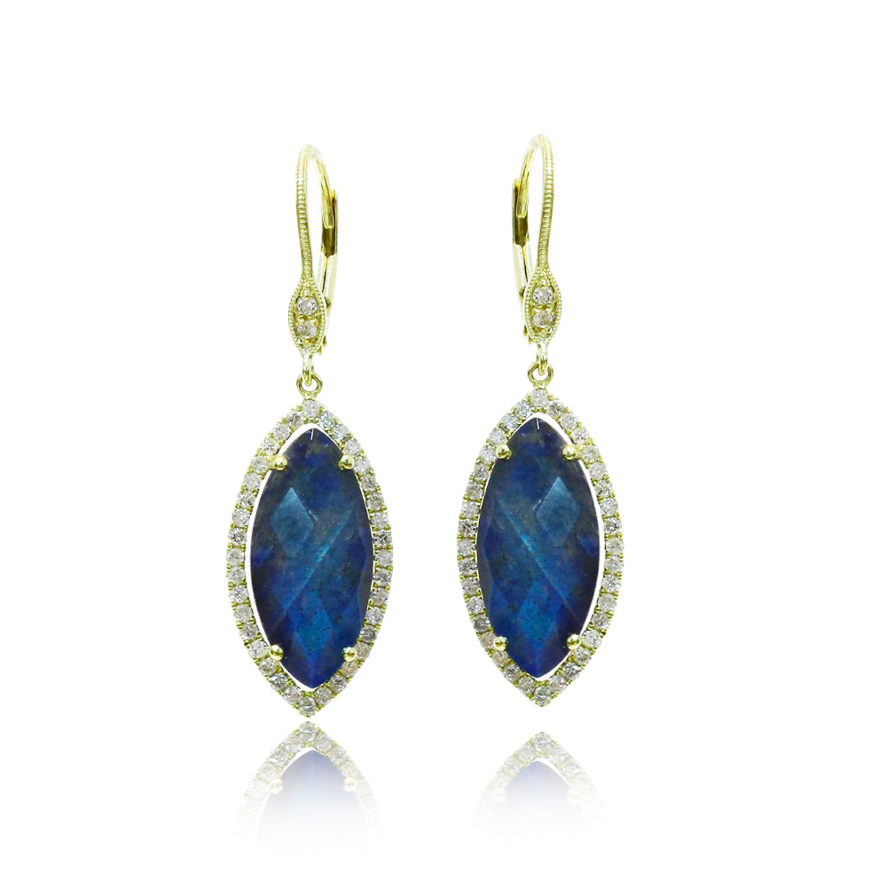 Blue Labradorite Diamond Earrings