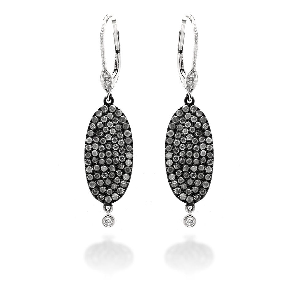 White Gold Earrings with Black Rhodolite and Diamonds