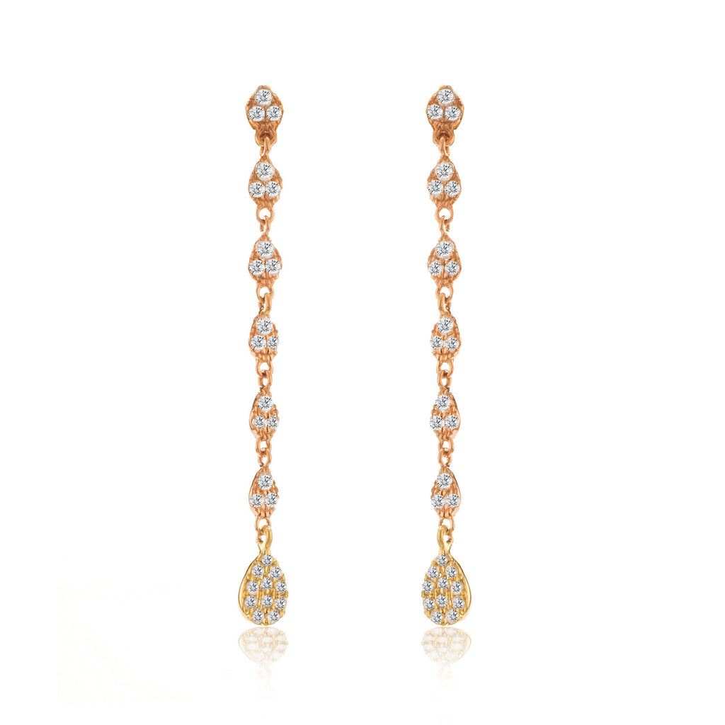Rose Gold Drop Earrings with Diamonds