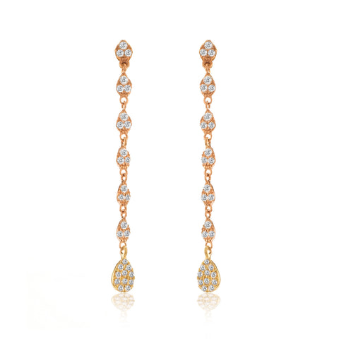 14k Rose Gold Drop Earrings with Diamonds & Yellow Gold Charm
