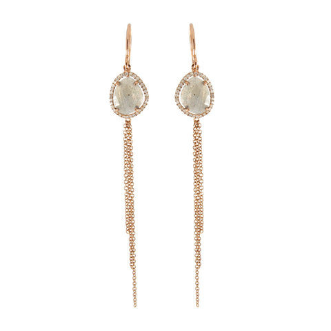 Rose Gold Labradorite & Diamond Chain Earrings