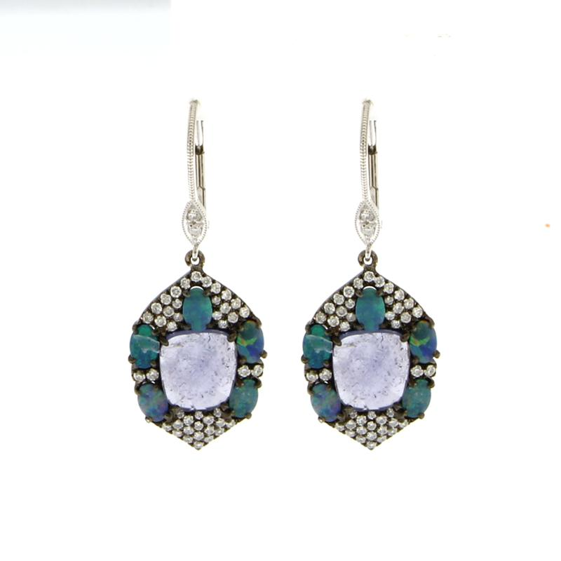 Tanzanite and Opals Drop Earrings