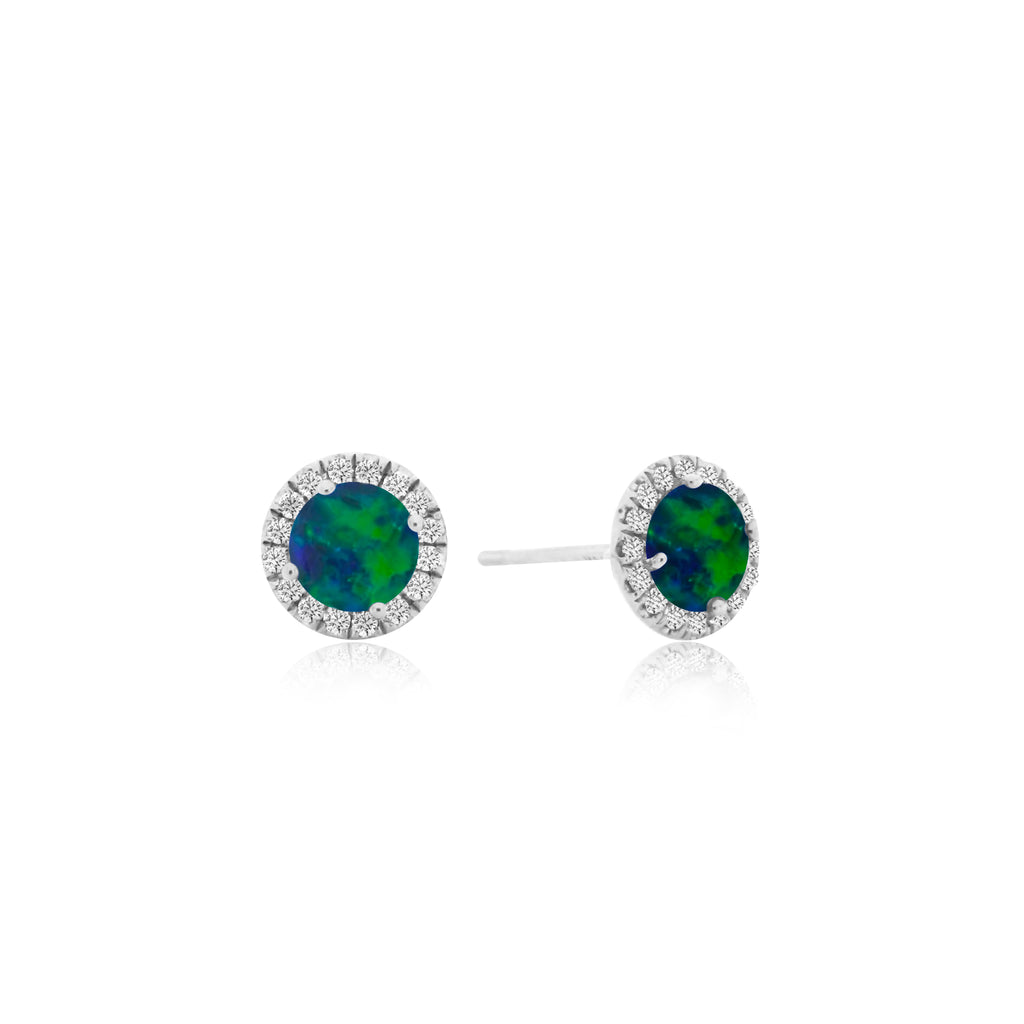 White Gold Opal Halo Stud