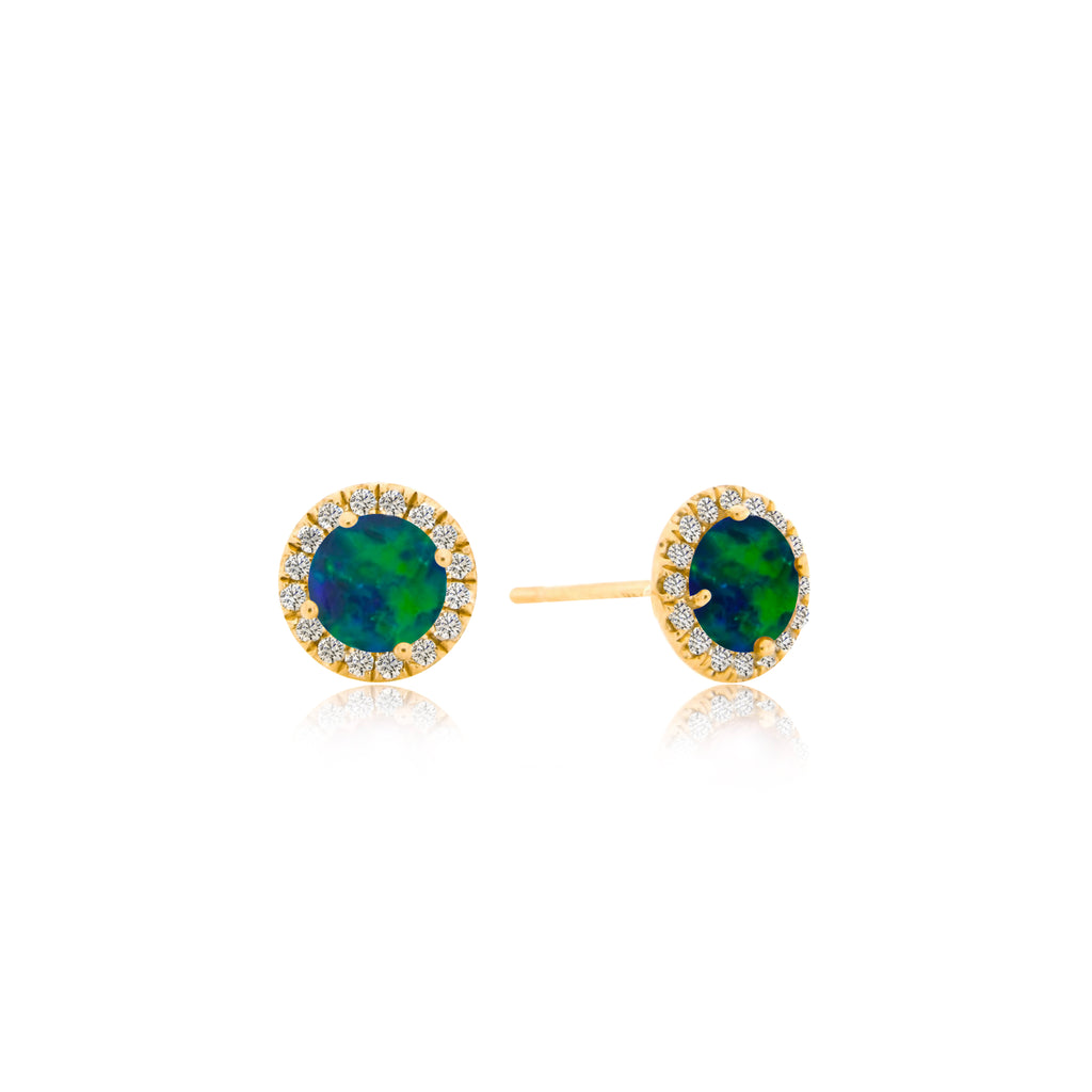 Yellow Gold Opal Halo Stud