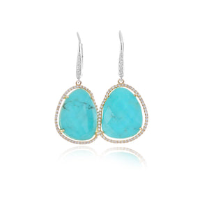 Turquoise and Diamond Earrings One of a Kind