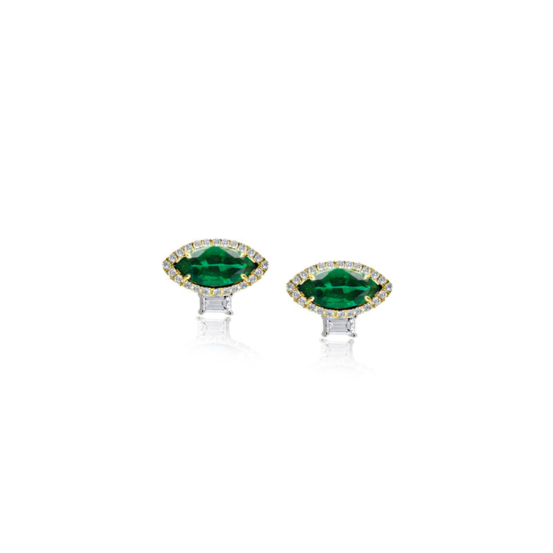 Marquise Emerald Diamond Stud