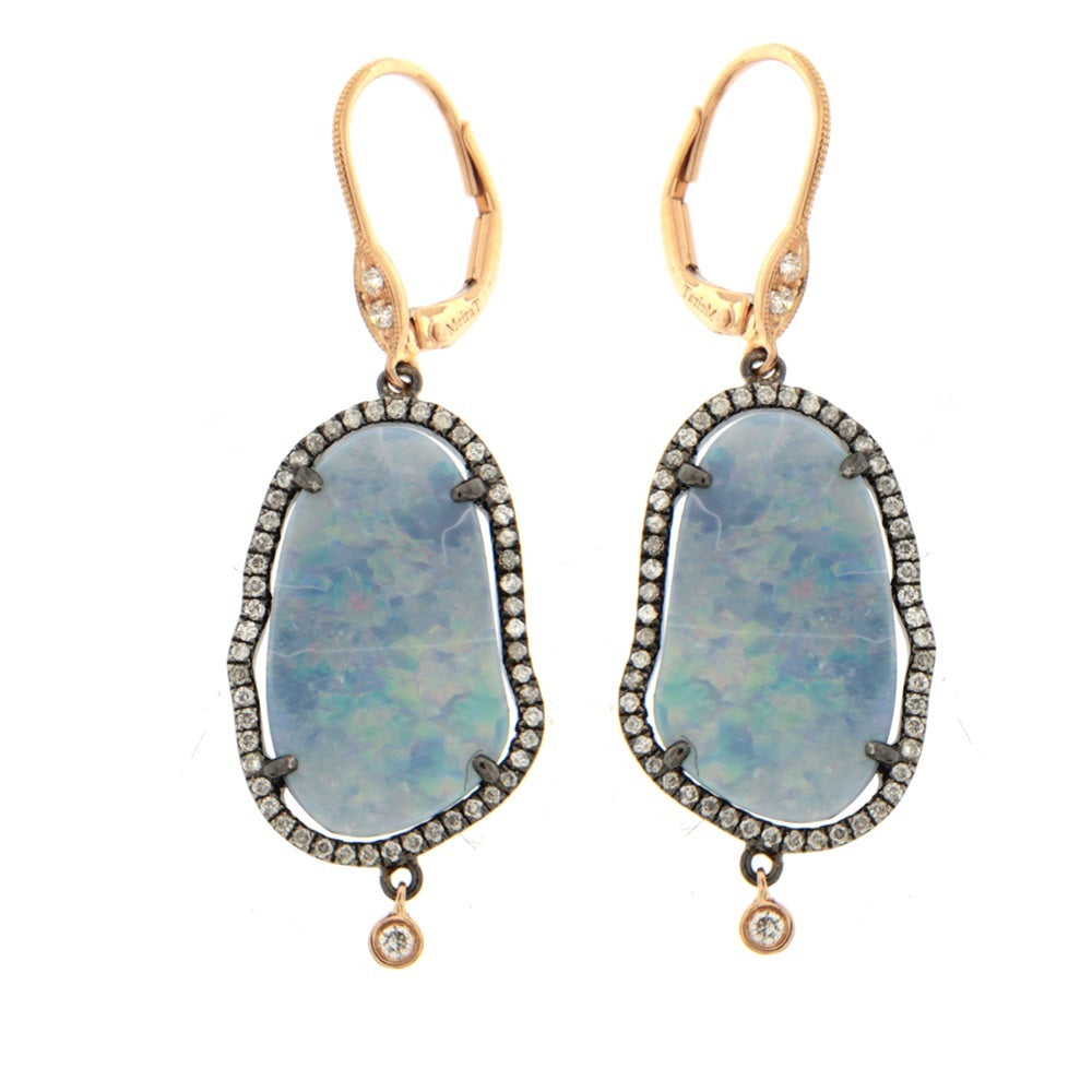 Light Opal Diamond Earrings
