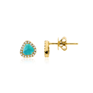 Yellow Gold and Diamonds Larimar Studs