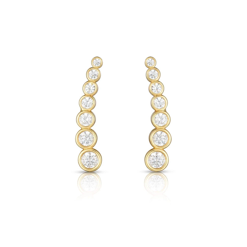 Yellow Gold Bezel Ear Climber
