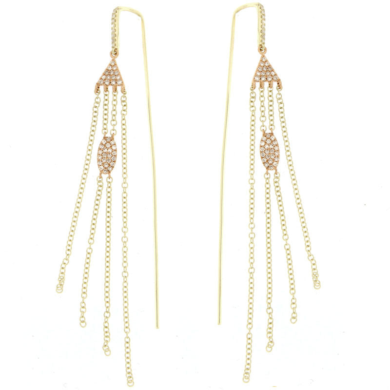 Pave Charmed Chain-link Earrings