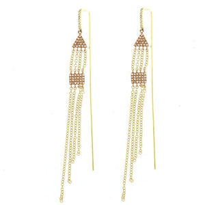 Two Tone Gold Fringe Earrings
