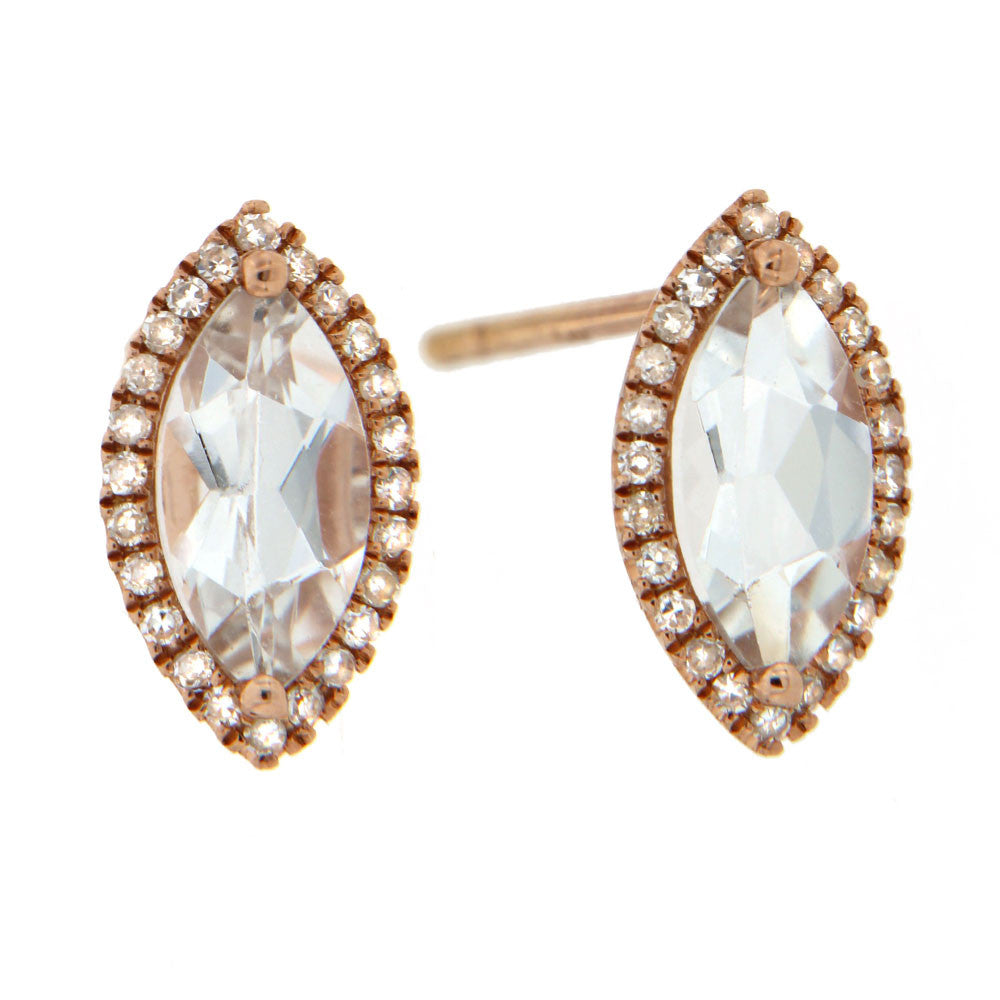 Topaz, Rose Gold Marquise Shaped Diamond Earrings