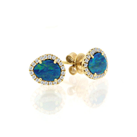 Double Opal Diamond Drop Earrings