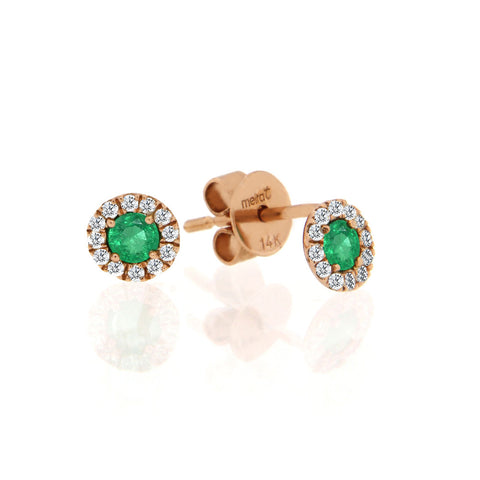 Rose Gold Emerald and Diamond Earrings