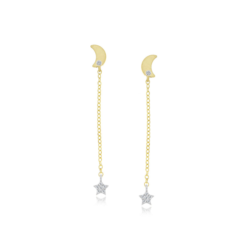 moon and star earrings gold