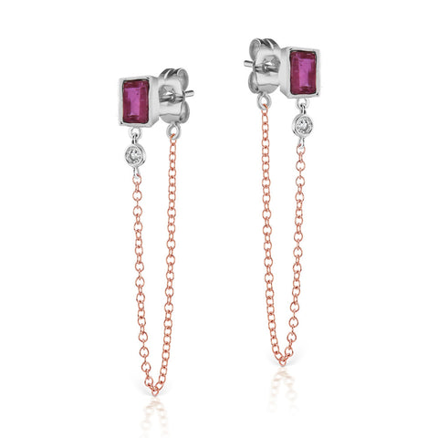 Ruby Bezel Earrings
