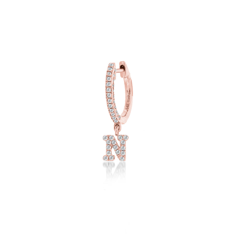 Rose gold Initial Huggies