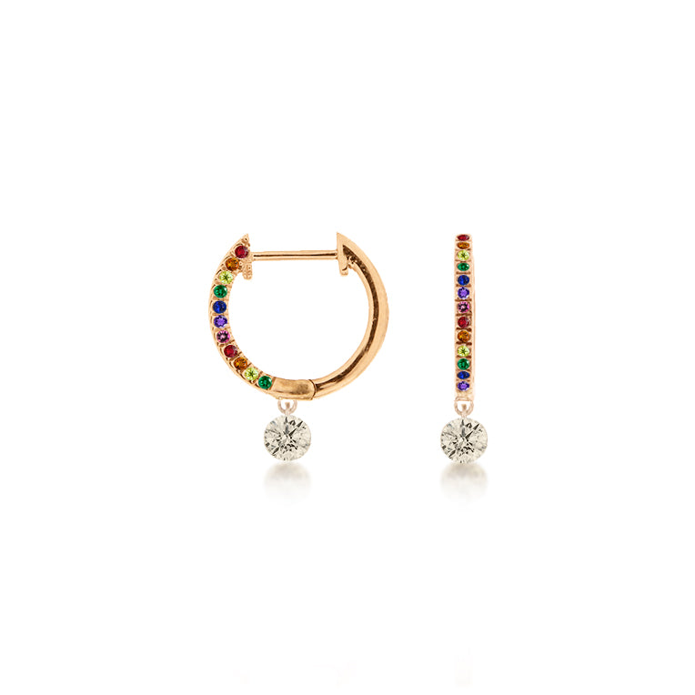 Rose Gold Rainbow Diamond earrings
