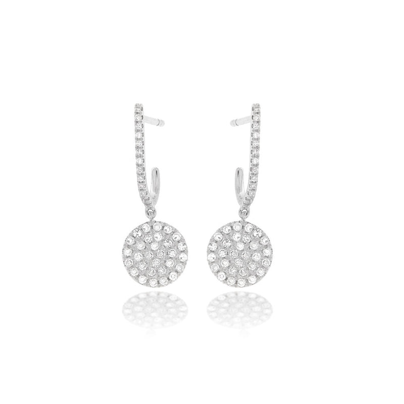 Pave Diamond Disc Earrings with Diamond Hoops