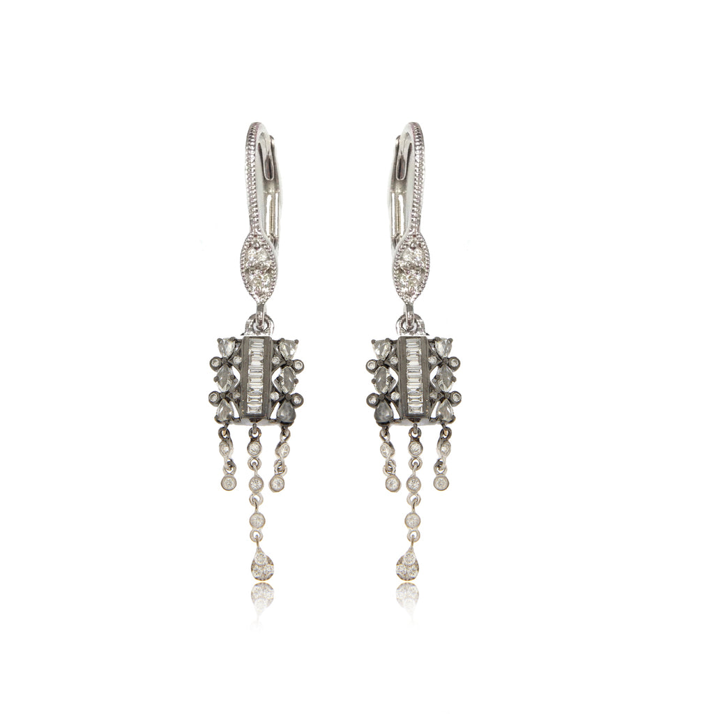 White Gold Diamond Bezel Drop Earrings